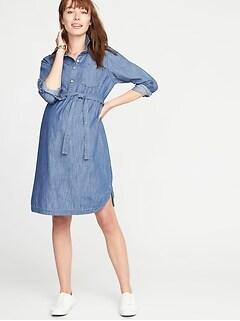cfeb790737668 Maternity Tie-Belt Chambray Shirt Dress
