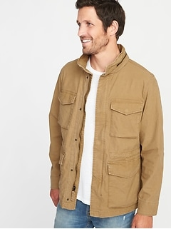 ed268fff237 Canvas Built-In Flex Stowaway-Hood Military Jacket for Men