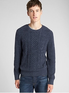 Cable-Knit Crewneck Pullover Sweater afc8b771c