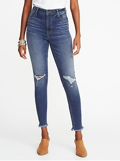 fb43420b9ca High-Rise Secret-Slim Pockets Raw-Edge Rockstar Ankle Jeans for Women