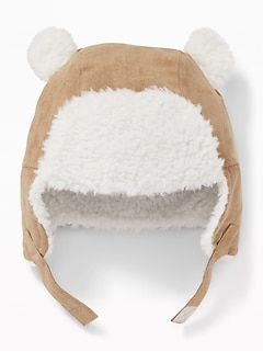 Faux-Suede Sherpa-Trim Trapper Hat for Baby 6c49d76fe6d