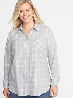 bd5a1bb72bca3a Classic Plaid No-Peek Plus-Size Twill Shirt