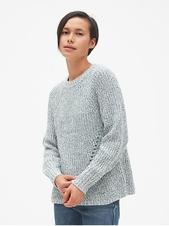 6772b954da Marled Pointelle Crewneck Pullover Sweater