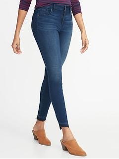 Mid-Rise Built-In Warm Rockstar Super Skinny Step-Hem Jeans for Women
