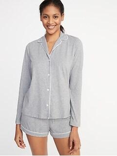 81bd2b2a Relaxed Button-Front Sleep Shirt for Women