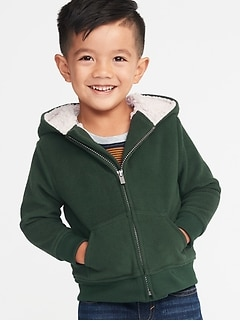 8bdd28b04 Sherpa-Lined Micro Performance Fleece Zip Hoodie for Toddler Boys
