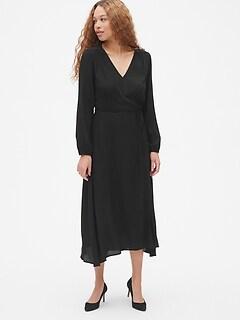 00ba14ff9a9a2 Long Sleeve Flounce Wrap Midi Dress