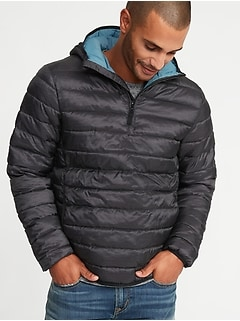 28fa5f5d04 Water-Resistant Quilted 1 4-Zip Hooded Jacket for Men