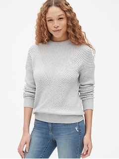71c7cc28d6e84 Directional Ribbed Crewneck Pullover Sweater