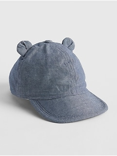 0220af842a8f0 Baby Chambray Bear Ear Baseball Hat