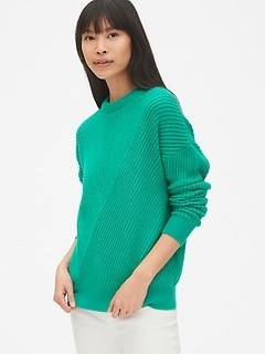Directional Ribbed Crewneck Pullover Sweater 3b57276a1