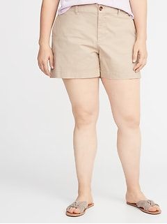 3def78583e Mid-Rise Plus-Size Everyday Twill Shorts - 5 Inch Inseam