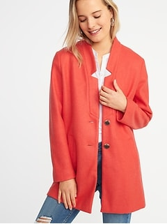 0ce281ffbf74 Oversized Soft-Brushed Button-Front Coat for Women