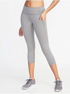 dff6b48bb97a7 Mid-Rise Elevate Side-Pocket Mesh-Trim Compression Crops for Women