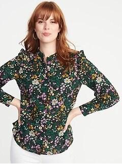 604a650ebb5dc Ruffled-Shoulder Floral-Print Shirt for Women