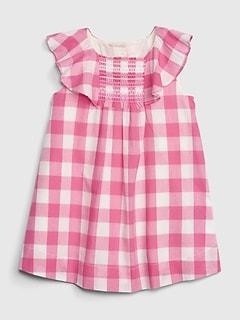 3e4b497610b Baby Gingham Flutter Dress