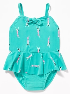 700f1b0f2256d Printed Tie-Front Peplum Swimsuit for Toddler Girls