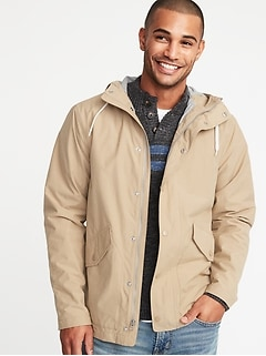 32dad1992df Water-Resistant Poplin Hooded Anorak for Men