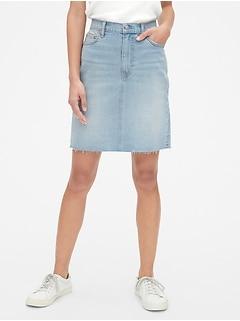 c71dc0742e High Rise Denim Skirt with Raw Hem