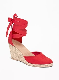 3e34313aa1a Faux-Suede Espadrille Wedges for Women