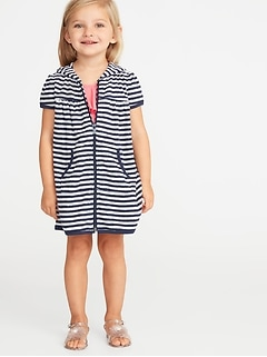 ccac932f68436 Loop-Terry Hooded Zip Front Swim Cover-Up for Toddler Girls