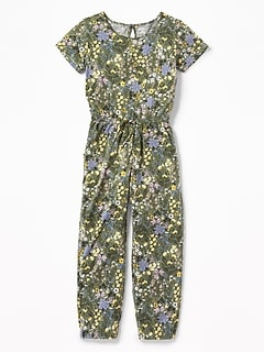 72f0dd3c2b31 Floral-Print Jersey Jumpsuit for Girls
