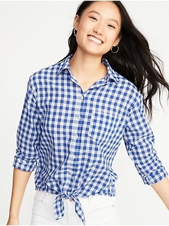 c9fad86f Relaxed Gingham Tie-Hem Shirt for Women