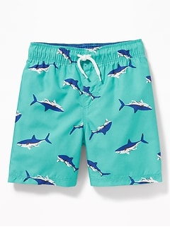 592d543356 Functional Drawstring Printed Swim Trunks for Toddler Boys