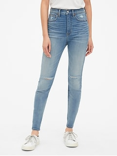 Sky High Distressed True Skinny Jeans with Secret Smoothing Pockets d00a545d2c2a