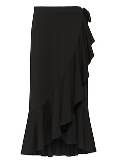 dd466c8252 Soft Ponte Ruffle Wrap Midi Skirt