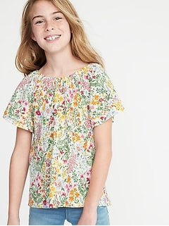 2e8f02803 Slub-Knit Floral-Print Flutter-Sleeve Tunic for Girls