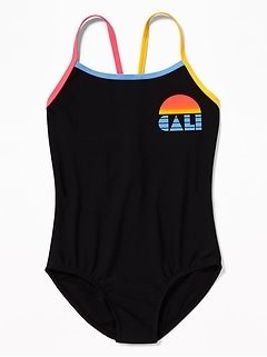 18796405223fe Graphic Cross-Strap Keyhole-Back Swimsuit for Girls