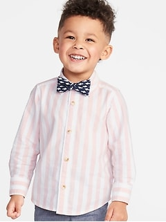 7b0fe99a5b8b Long-Sleeve Shirt   Printed Bow-Tie Set for Toddler Boys