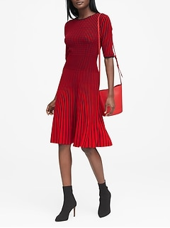 83d8ddc6f3f Stripe Fit-and-Flare Sweater Dress