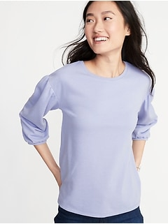 9265e078a09 Relaxed Balloon-Sleeve French-Terry Top for Women