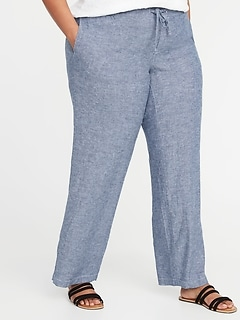 e977a5b847a Mid-Rise Plus-Size Linen-Blend Wide-Leg Pants