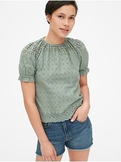 fd459bb4310 Eyelet Embroidered Puff Sleeve Top