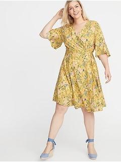 Waist-Defined Faux-Wrap Plus-Size Dress 9453c1326