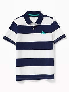 e5860be33 Built-In Flex Embroidered Graphic Striped Polo for Boys