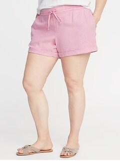 0815e8321 Mid-Rise Tie-Waist Plus-Size Linen-Blend Shorts - 5-