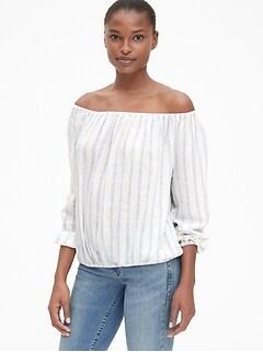 a0c6f71b02fe04 Stripe Blouson Sleeve Off-Shoulder Top in Linen