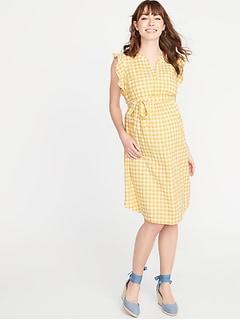 2ed497bb38410 Maternity Patterned Tie-Belt Shirt Dress