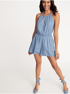 423a27d6979 Chambray Keyhole Romper for Women