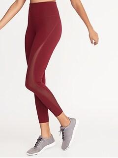 5d96b5a4a9 High-Rise Elevate 7/8-Length Mesh-Trim Compression Leggings for Women