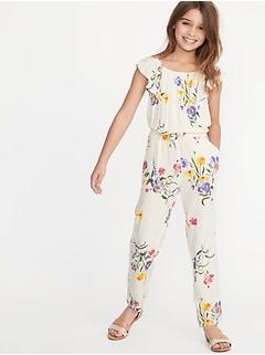 094ef90c3fca Floral-Print Flutter-Sleeve Jumpsuit for Girls
