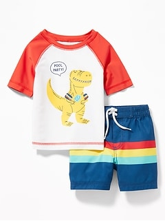 ac8d70358 Graphic Rashguard & Printed Swim Trunks Set for Baby