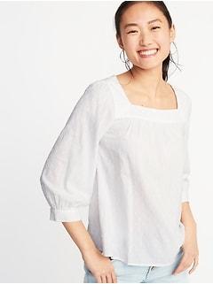 9e4da13bfb6 Relaxed Square-Neck Textured Top for Women