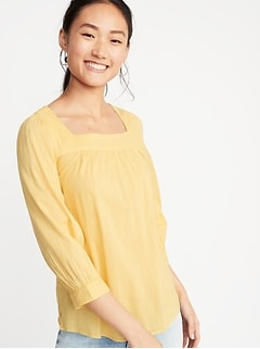 b5714abdb5da Square-Neck Slub-Weave Blouse for Women