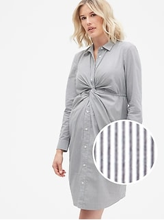 636e8ef1964d6 Maternity Twist-Front Shirtdress in Poplin