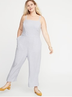Sleeveless Linen-Blend Plus-Size Cropped Jumpsuit f828e77a6